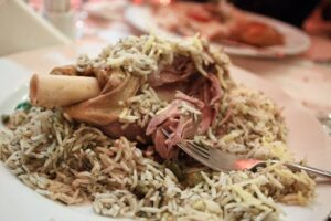 Baghali Polo on a plate