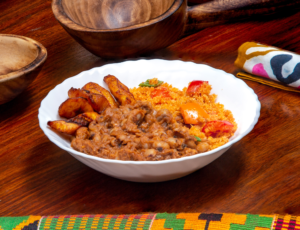 Vegan food in Dubai - plantains and beans - Veghana