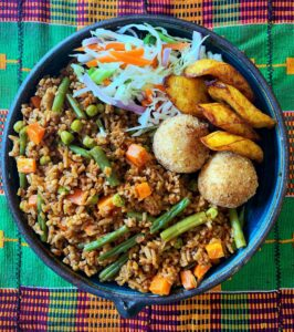 Vegan food in Dubai - jollof rice - Veghana